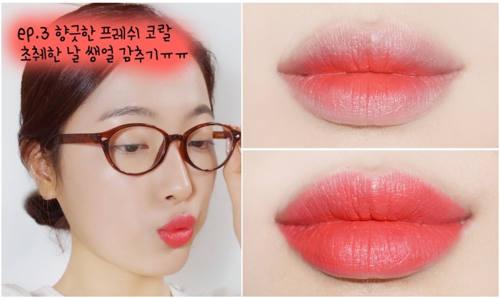 phun xăm môi màu hồng cam