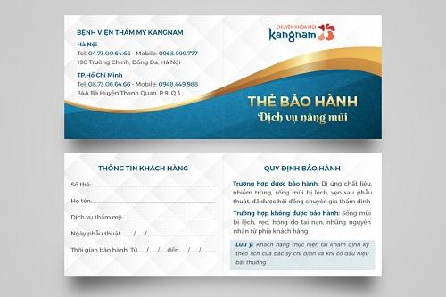 thẻ bảo hành dịch vụ kangnam