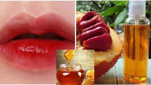 làm môi hồng bằng mật ong